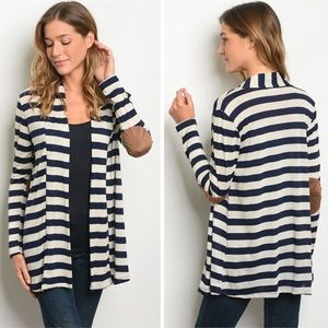 Sweaters - Womens Striped Open Front Shawl Cardigan | Blue